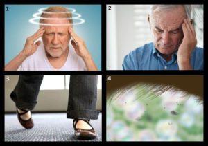 Боль в ухе, головокружение, шаткость походки.